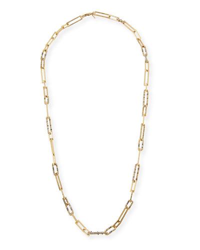 Crystal-Encrusted Link Necklace, 32