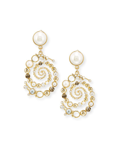 Infinite Swirled Cabochon Drop Earrings