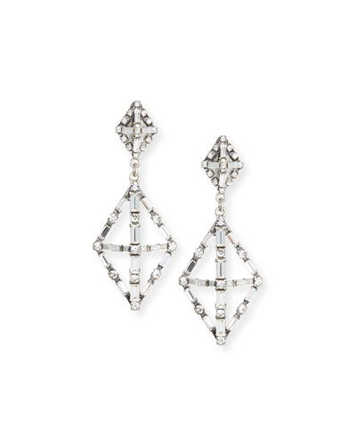 Proxima Baguette Crystal Drop Earrings, Silver