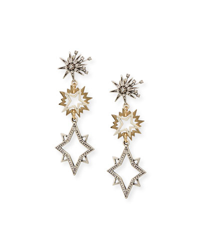Cosmic Two-Tone Star Drop Earrings