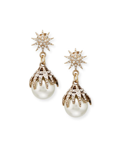 Electra Pearly Crystal Ball Drop Earrings