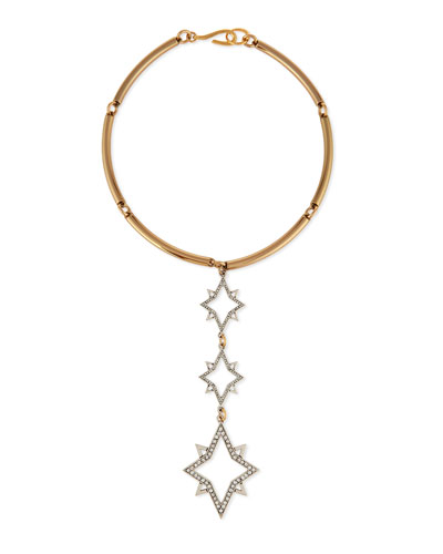 Nova Linear Three-Star Collar Necklace