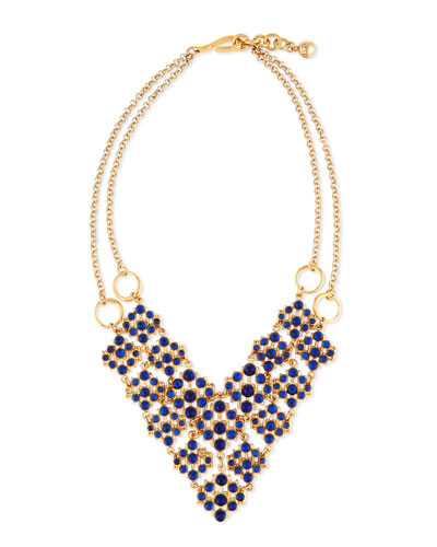 Energy Crystal Cabochon Bib Necklace, Blue