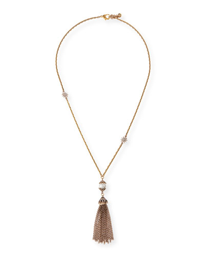 Electra Pearly Crystal Tassel Necklace