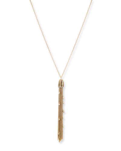 Golden Crystal Tassel Pendant Necklace