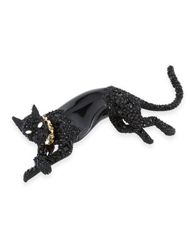 Crystal Panther Pin, Black