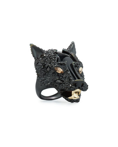 Crystal-Encrusted Panther Statement Ring, Black