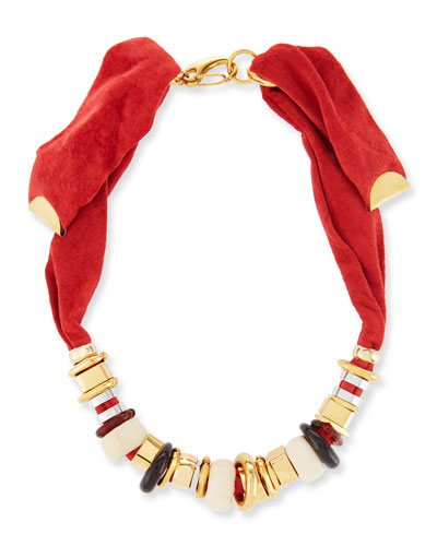 Suede Collage Beaded Necklace, Red
