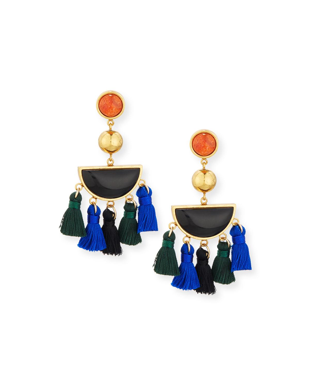 Fiesta Black Agate Tassel Earrings