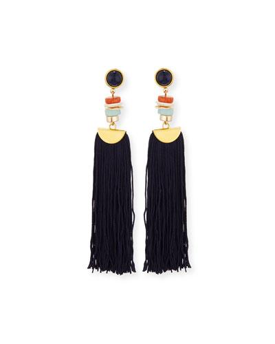 Indigo Tassel Drop Earrings