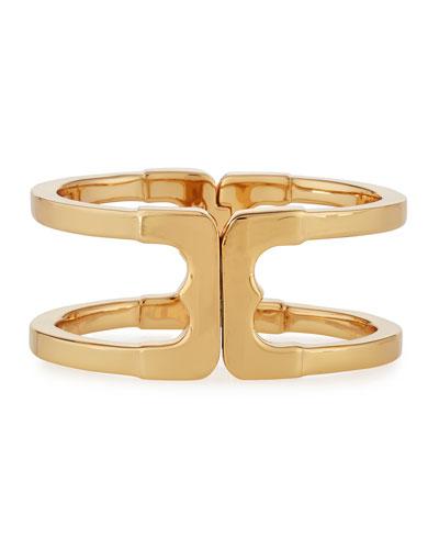 Gemini Link Hinge Cuff Bracelet, Golden