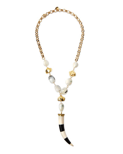 Striped Horn Pendant Necklace, White/Black