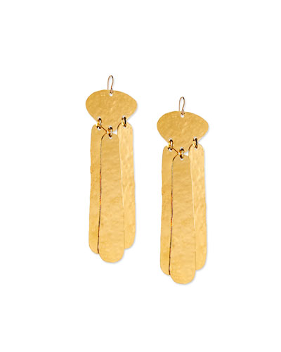 Hammered Three-Drop Earrings, Gold