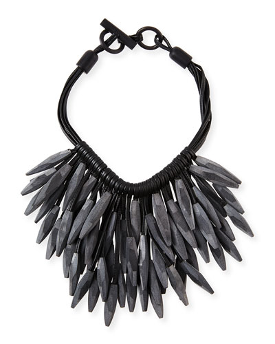 Gray Horn & Leather Collar Necklace