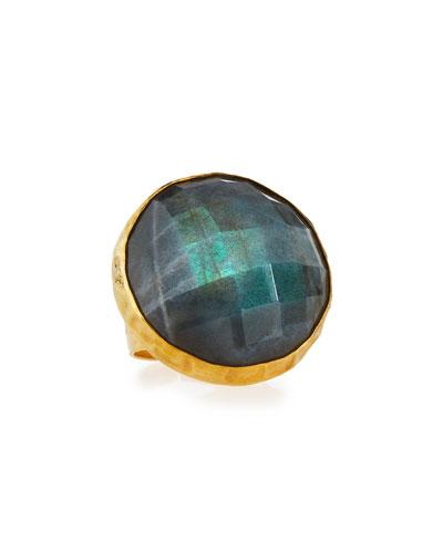 Round Faceted Labradorite Ring