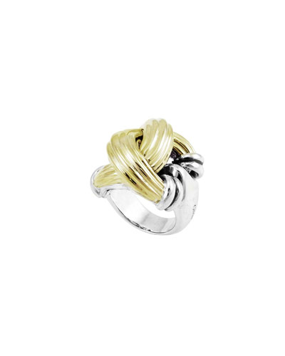 Extra-Large 18K & Sterling Silver Knot Ring, Size 7