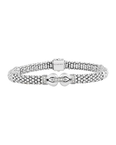 6mm Sterling Silver Diamond Derby Bracelet, 7