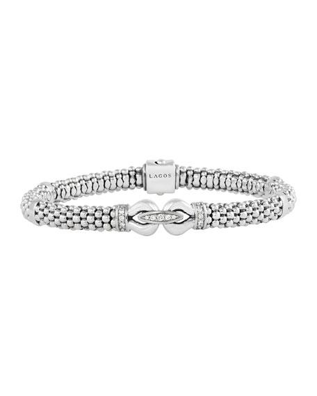 "Lagos 6mm Sterling Silver Diamond Derby Bracelet, 7"""