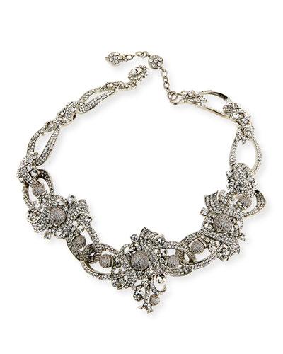 Crystal Ribbon Collar Necklace