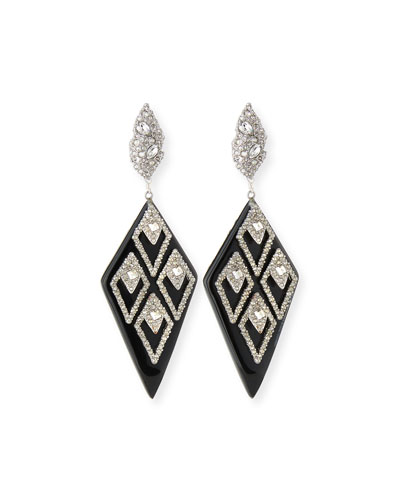 Spiked Lattice Crystal Drop Earrings, Black