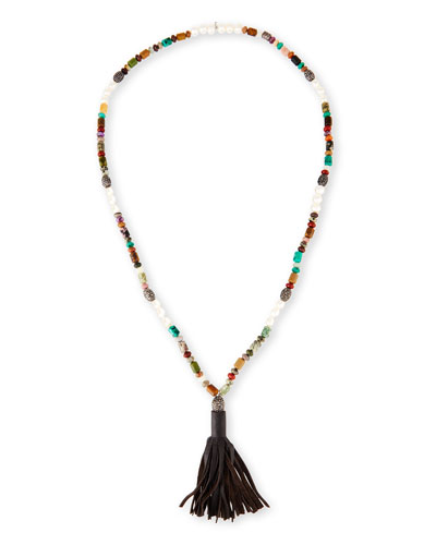 Frankie Jasper Beaded Necklace with Leather Tassel, Multi