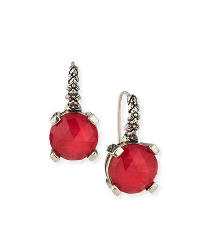Drop Earrings, Red Quartzite