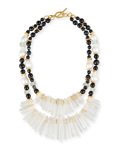Two-Strand Black Agate & Crystal Necklace
