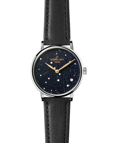 Sandstone Leather Strap Watch with Diamonds