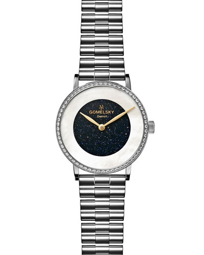 Round Sandstone Stainless Steel Bracelet Watch with Diamonds