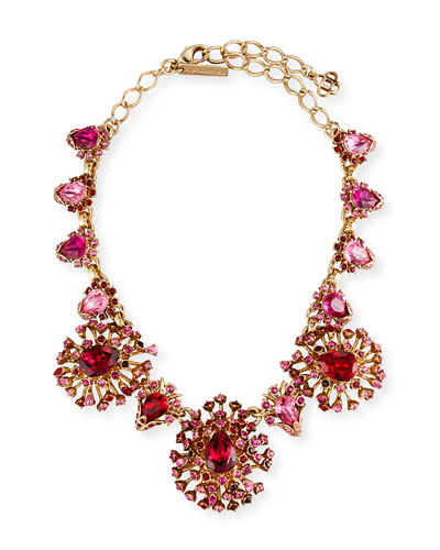 Tiered Crystal Necklace, Hot Pink