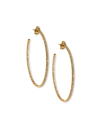 45mm Micro Pavé Diamond Hoop Earrings in 18K Yellow Gold