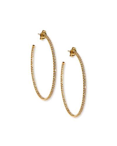 American Jewelery Designs 25mm Pavé Diamond Hoop Earrings PxS0IZuf