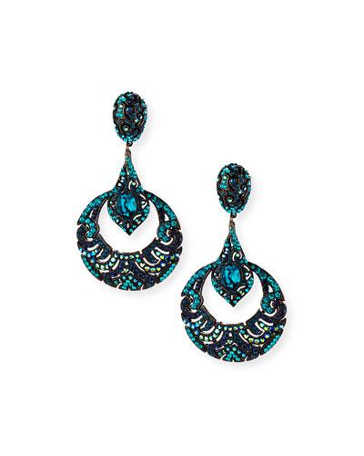 Austrian Crystal Deco Hoop Earrings