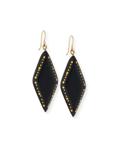 Kaimu Studded Dark Horn Drop Earrings