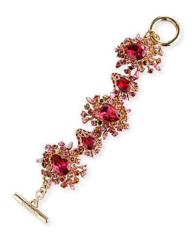 Tiered Crystal Toggle Bracelet, Hot Pink