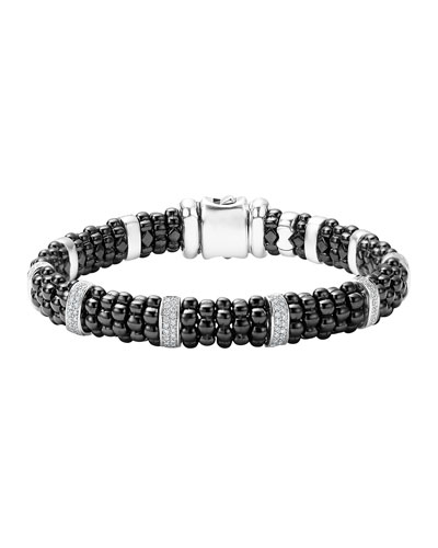 9mm Black Caviar Bracelet with Diamond Stations