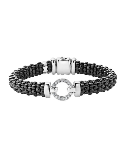 Black Caviar Ceramic Bracelet with Diamond Circle
