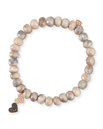 8mm Moonstone Beaded Bracelet w/ 14k Diamond Double-Heart Charm