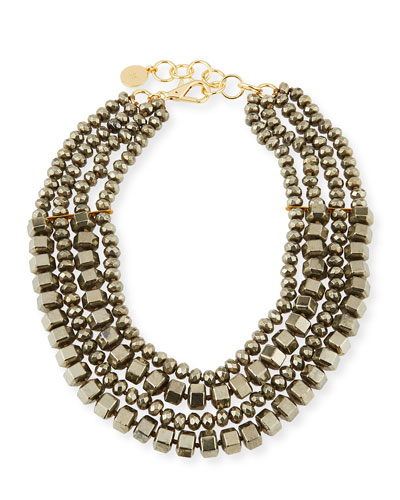 Four-Strand Beaded Pyrite Necklace