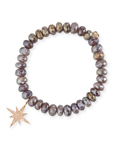 8mm Quartz Beaded Bracelet w/ 14k Diamond Starburst Charm