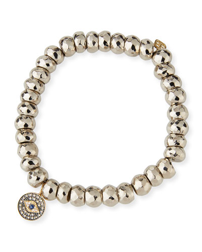 8mm Silver Pyrite Beaded Bracelet with Diamond Evil Eye Charm