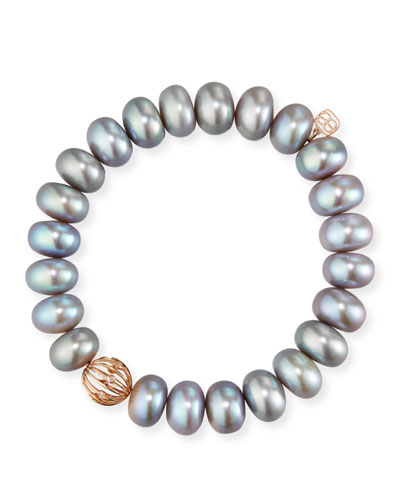 10mm Gray Pearl Bracelet w/ 14k Diamond Wire Ball Charm