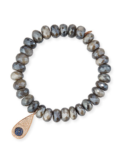 Faceted Dark Australian Moonstone Bracelet with Diamond Teardrop Charm