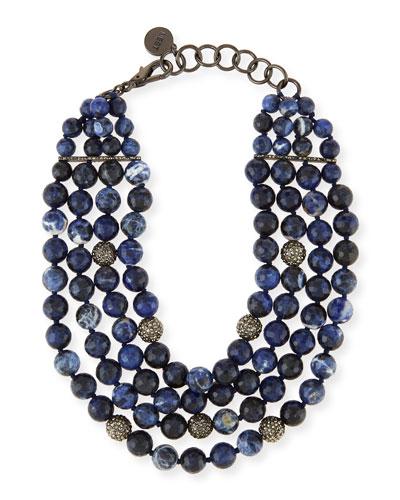 Multi-Strand Beaded Sodalite Necklace