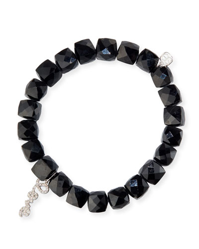 Black Spinel Beaded Bracelet with 14k White Gold/Diamond Love Charm