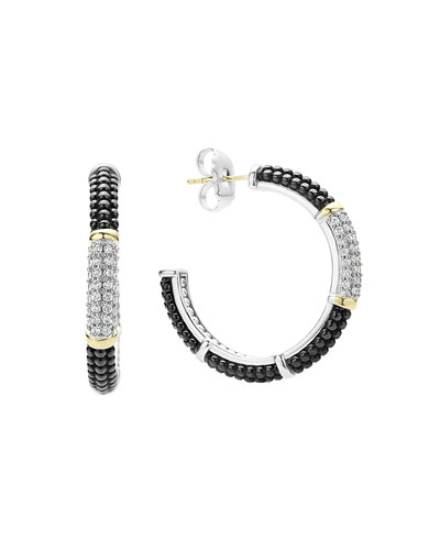 Black Caviar Hoop Earrings with Diamonds
