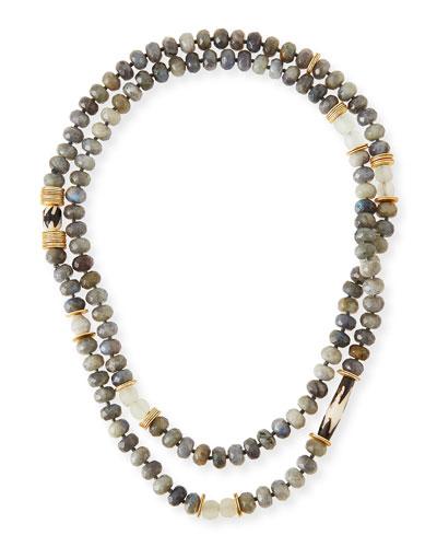 Long Faceted Labradorite & Bone Necklace
