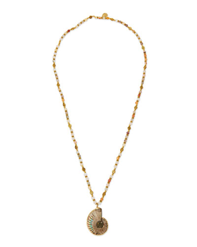 Long Mixed-Bead Shell Pendant Necklace