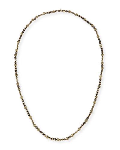 Uma Striped Bead & Pyrite Necklace