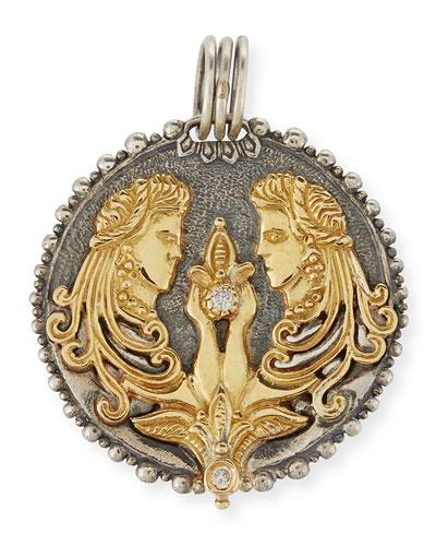 Gemini Carved Zodiac Pendant with Diamond